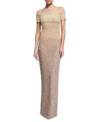 Pamella Roland Signature Degrade Sequined Column Gown Champagne