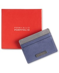 Perry Ellis Portfolio Gift Men's Fabric Card Case Navy W Gry