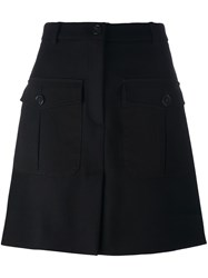 Iceberg Patch Pocket A Line Skirt Black