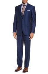 David Donahue Men's Big And Tall 'Ryan' Classic Fit Solid Wool Suit Blue