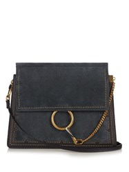 Chloe Faye Medium Leather And Suede Shoulder Bag Navy Multi