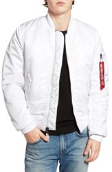 Alpha Industries Men's 'Ma 1' Slim Fit Bomber Jacket White