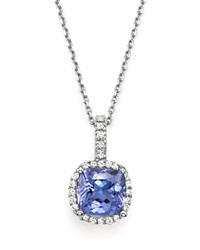 Bloomingdale's Tanzanite And Diamond Pendant Necklace In 14K White Gold 16