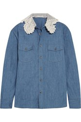 Miu Miu Silk Organza And Guipure Lace Trimmed Denim Shirt Mid Denim