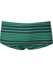 Blue Man Embroidered Logo Striped Trunk Green
