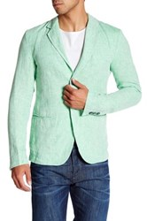 Ganesh Green Linen Two Button Notch Lapel Blazer