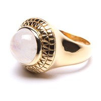 Puck Wanderlust Rainbow Moonstone Power Ring Gold White Gold