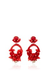 Ranjana Khan Red Large Floral Drop Earrings