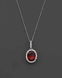 Bloomingdale's Garnet And Diamond Halo Pendant Necklace In 14K White Gold 16 Red White