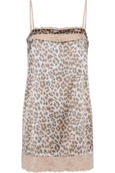Mimi Holliday Frost Lace Trimmed Leopard Print Silk Satin Chemise