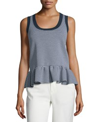 Red Valentino Scoop Neck Striped Peplum Tank Bianco Blu Women's