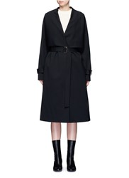 Rosetta Getty Virgin Wool Twill Belted Trench Coat Black