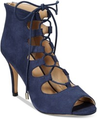 Thalia Sodi Luana Lace Up Peep Toe Dress Pumps Only At Macy's Women's Shoes Navy