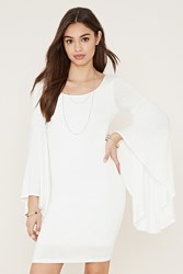 Forever 21 Bell Sleeve Bodycon Dress White