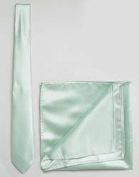 Asos Wedding Tie And Pocket Square Pack In Pale Green Green