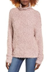 Women's Bp. Fluffy Knit Mock Neck Pullover Pink Sphinx