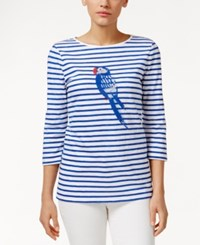 Charter Club Petite Embellished Graphic Striped Tee Only At Macy's Blazing Blue