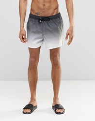 Asos Mid Length Swim Shorts In White Dip Dye With Gold Eyelets White