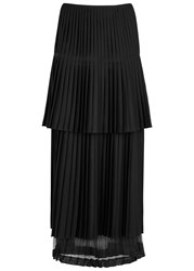 Stella Mccartney Black Pleated Wool Maxi Skirt