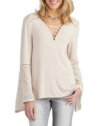Democracy Bell Sleeve Lace Up Top Shell