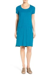 Women's Eileen Fisher Hemp And Organic Cotton Scoop Neck Shift Dress Jewel