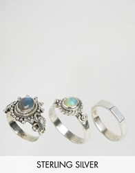 Rock N Rose Maude Labrodorite And Opal Sterling Silver Ring Multipack Silver