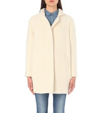 Closed Bubble Pori Cotton And Wool Blend Coat Blanched Almond
