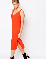 Oasis V Bar Back Column Midi Dress Orange