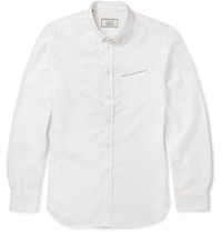 Officine Generale Navy Selvedge Button Down Collar Selvedge Edge Oxford Shirt White