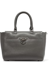 Versace Textured Leather Tote Gray
