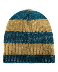 Gucci Striped Mohair Wool Blend Beanie Blue Mustard