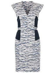 French Connection Tapir Wave Capped Sleeve Dress Summer White Multi