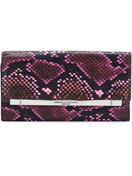 Christian Siriano Python Skin Effect Flap Clutch Pink And Purple
