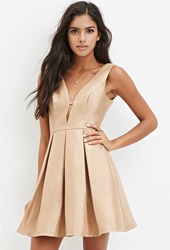 Forever 21 Pleated A Line Dress Taupe