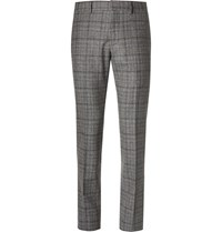 Gucci Slim Fit Checked Wool Trousers Gray