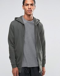 Asos Longline Zip Up Hoodie With Side Zips In Khaki Forest Nights Green