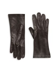 Saks Fifth Avenue Silk Lined Leather Gloves Black