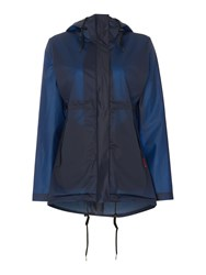 Hunter Matte Vinyl Hooded Smock Coat Blue