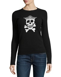 Oats Cashmere Cashmere Skull Print Knit Sweater Black