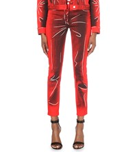 Moschino Crease Print Skinny Mid Rise Jeans Red