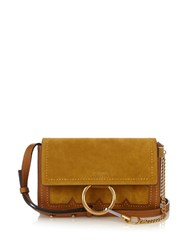 Chloe Faye Small Suede And Leather Cross Body Bag Dark Yellow