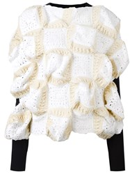 Comme Des Garcons Junya Watanabe Crochet Panel Structured Jumper White