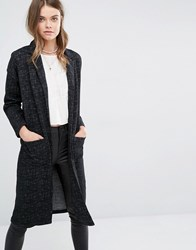 Pull And Bear Pullandbear Longline Blazer In Scratch Print Black