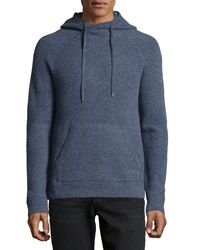 Vince Hooded Wool Pullover Sweater Heather Indigo