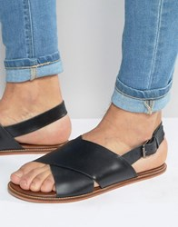 Asos Sandals In Black Leather With Cross Over Strap Black