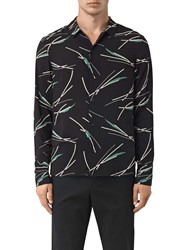Allsaints Moreland Slim Fit Abstract Graphic Shirt Black Base