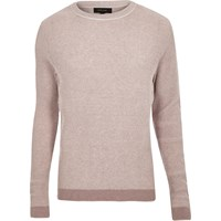 River Island Mens Light Pink Ribbed Crew Neck Slim Fit Jumper