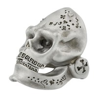 Snake Bones Skull Ring With Hinged Jaw In Sterling Silver