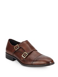 Saks Fifth Avenue Leather Monk Strap Loafers Brown