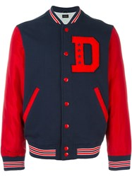 Diesel Initial Patch Varsity Jacket Blue